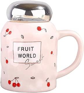 Cute Cherry Mug Ceramic Coffee Mug with Handle and Lid Coffee Tea Mug for Friends Sisters Mom Aunt Grandma Wife Girls Women 12 Ounce-Pink Mug
