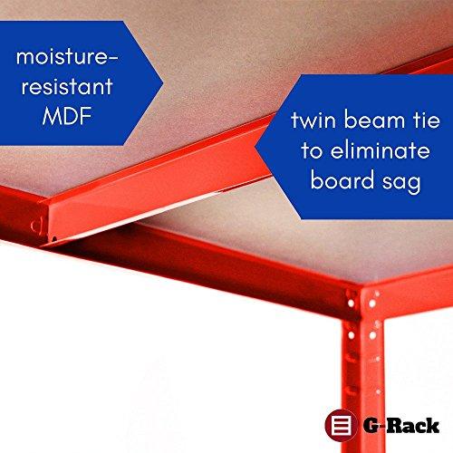 Garage Shelving Units: 180cm x 120cm x 45cm | Heavy Duty Racking Shelves for Storage – 2 Bay, Red 5 Tier (265KG Per…