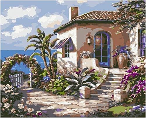 Generic Malen Nach Zahlen Digitale Malerei DIY Seaside Cabin Terrasse Landschaft Leinwand Hochzeit Art Deco Foto Geschenk-40X50Cm