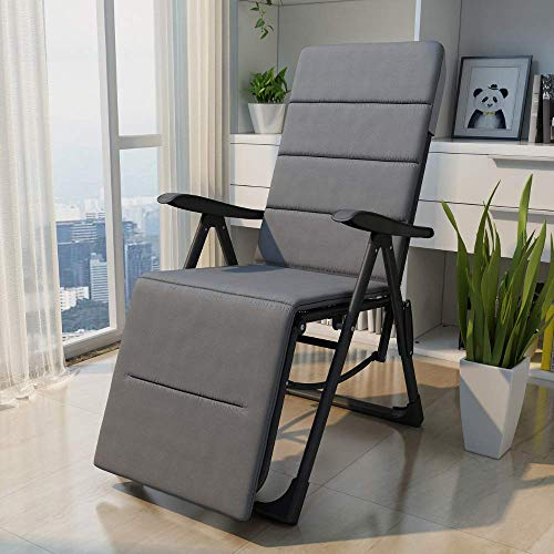 EQUAL Multi Position Folding Compact Steel Recliner Chair with Cushion for Home, Garden & Outdoor (Gray)