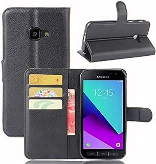 COPHONE® Etui Coque Housse de Protection Noir en Cuir pour Samsung Galaxy Xcover 4 Etui porteufeuille Noir Haute qualité p...
