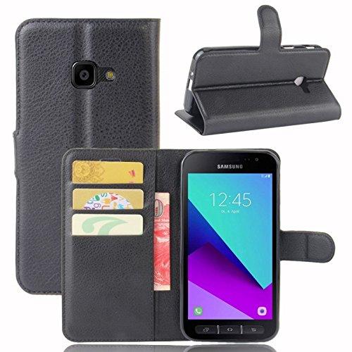 COPHONE® Custodia per Samsung Galaxy Xcover 4 , Custodia in Pelle compatibili Galaxy Xcover 4 nero. Cover a libro per Galaxy Xcover 4 magnetica portafoglio