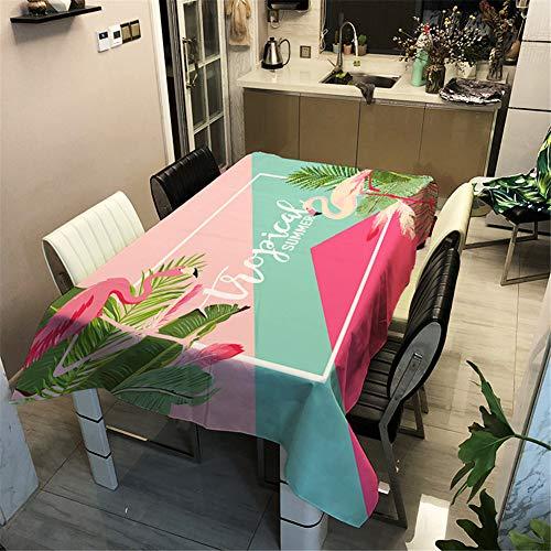 Enhome Mesa Mantel Antimanchas Rectangular Impermeable, 3D Flamenco Tropical Impresión Poliéster Tela Lavable para Exterior Interior Comedor Cocina Jardín Decoración (140×160cm,Rectángulo)