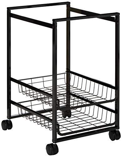 Mobile File Cart w/Sliding Baskets, 15w x 12-7/8d x 20-7/8h, Black