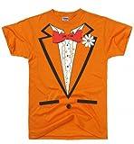 DIRTYRAGZ Men's Orange Vintage Tie Tuxedo Tux T Shirt XL Orange