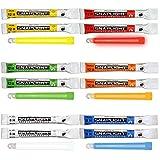 Cyalume SnapLight - Pack de 12 barras de 6 colores (verde, amarillo, rojo, naranja, azul y blanco) 15 cm, barra luminosa fluorescente de 8 y 12 horas