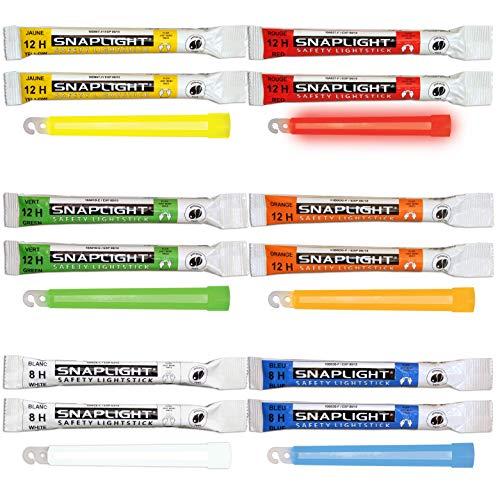 Cyalume SnapLight - Paquete de 12 barras de 6 colores (2 verdes, 2 amarillos, 2 rojos, 2 naranjas, 2 azules y 2 blancos) 15 cm, barras luminosas fluorescentes de 8 y 12 horas