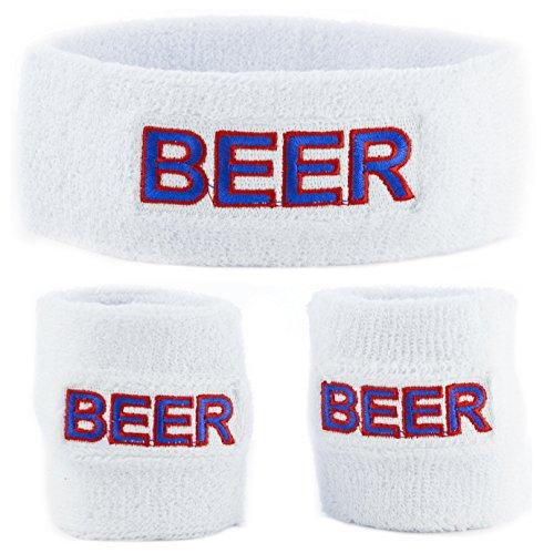 Funny Guy Mugs Beer Unisex Sweatband Set (3-Pack: 1 Headband & 2 Wristbands)