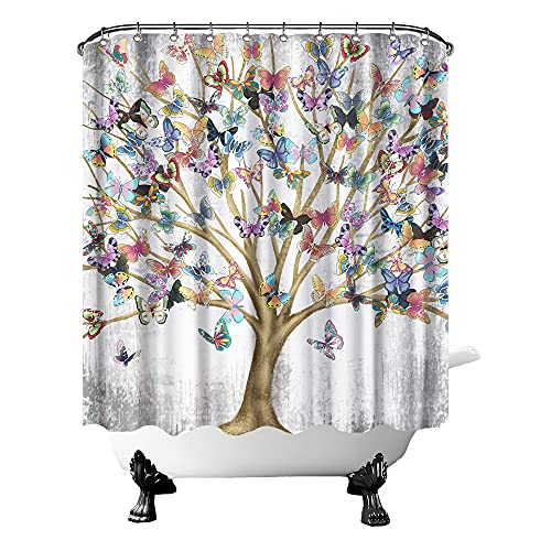 "FuShvre Tree of Life Shower Curtain Fabric Vintage Colorful Butterflies on Branches Plants Fantasy Art Bath Curtain Shabby Bathroom Curtain for Women's Bathtub Decor Hooks Included 72"" x 72"""