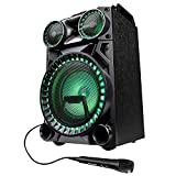 MEDION X64030 Party-So&system (Partylautsprecher Karaoke, Bluetooth 2.1, Kompaktanlage, 1000 Watt, Farbige LED, USB, AUX, SD-Kartenleser, Mikrofonanschluss, Gitarrenanschluss)