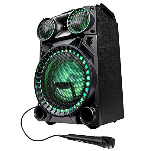 MEDION X64030 Party-Soundsystem (Partylautsprecher Karaoke, Bluetooth, Kompaktanlage, 100 Watt RMS, Farbige LED, USB, AUX, SD-Kartenleser, Mikrofon-, Gitarrenanschluss)