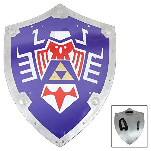 Swordsaxe Legend of Zelda Link Elf Warrior Blue Heater Shield Ancient Symbol Steel Replica Mask Cosplay