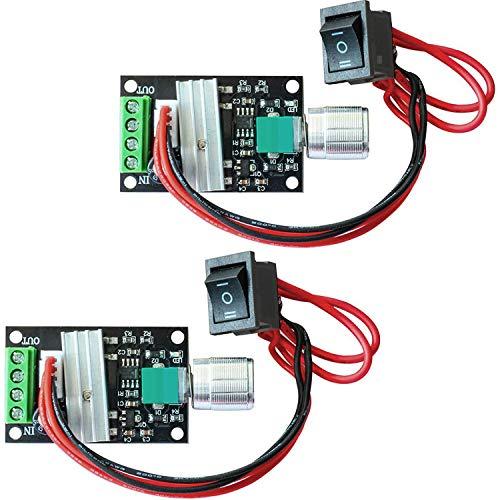 Greluma 2 Piezas 1203BB 6V 12V 24V 3A 80W DC Controlador de Velocidad del Motor (PWM) Interruptor de Controlador de Motor Reversible Ajustable