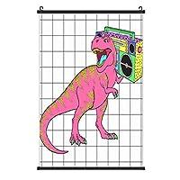 レトロ80年代スタイルのラジカセ付きティラノサウルスレックス 装飾画 アートモダン絵画 玄関に飾る モダンアート キャンバス絵画 壁掛け 部屋飾り