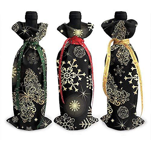 BUXI Printing Wine Bottle Cover,Negro Y Dorado Glam Navidad Copos De Nieve Mariposa Elegante Botella De Vino Tapa Bolsas Inicio Decoración De La Mesa 12x34cm