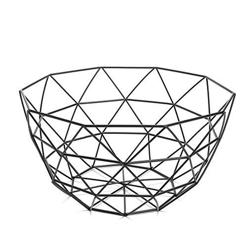 Moderne géométrique Fil de fer Panier de fruits de stockage de bol Vaisselle écran de support Noir