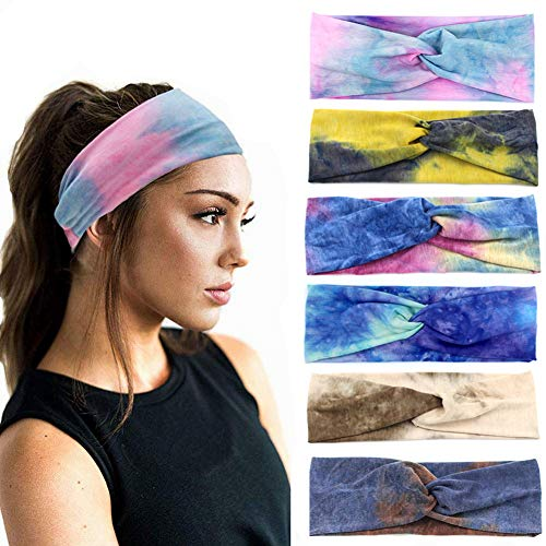 6 Pieces Tie Dye Headbands For Women, Cloth Yoga Headbands Stretchy Workout...