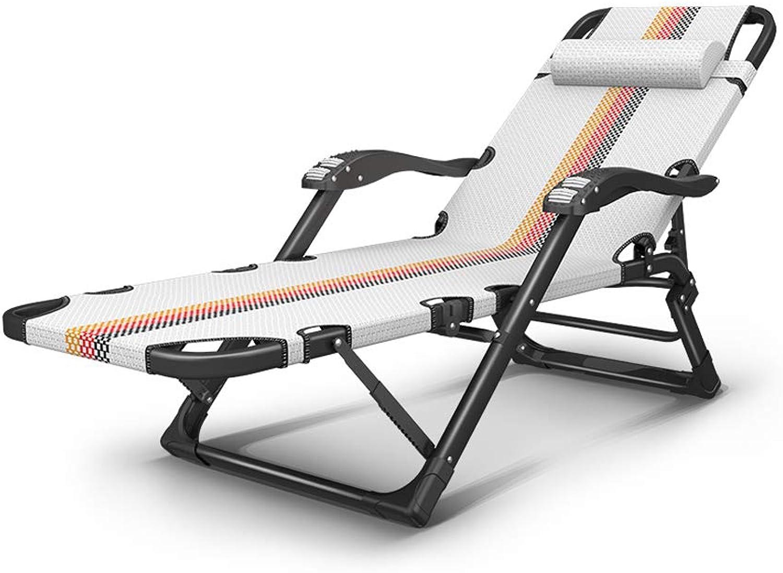 BYZDD Liegestühle, Nickerchen Erwachsener Wohnstuhl, Tragbarer Strandhocker, Dreifarbige Streifen