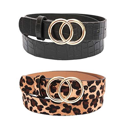 REYOK Cinturón de hebilla redonda de Doble,2 pcs Cinturón de mujer sencillo y de Moda Cinturón de Cuero para Mujer Señoras Cinturones Estrechos para Jeans/Vestido con Hebilla Redonda -Negro+Braun