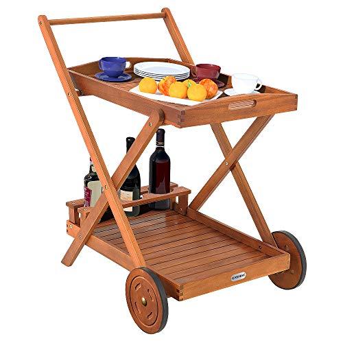 Deuba Servierwagen mit Rollen FSC®-zertifiziertes Akazienholz Abnehmbares Tablett 3 Flaschenhalter Küchenwagen Holz