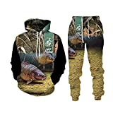 Impresión de pescado 3D con capucha pantalones de otoño de los hombres traje de ropa deportiva de gran tamaño jersey chaqueta de bolsillo pantalones, 2, S