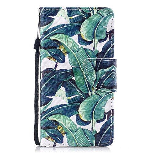 ShinyHülle Huawei Y5 II/ Y6 II Compact Hülle, PU Leder Handyhülle Flip Hülle Klappständer Tasche Kartenfächer Brieftasche Magnetverschluss Schutzhülle für Huawei Y6II Compact Huawei Y5II Grün Blumen