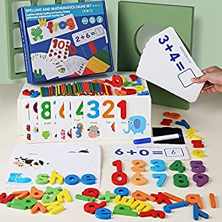 KIDSAVIA™- 2 in1 Wooden Toddler Spelling Learning - Mathematics Learning - Kids Toy Learning – Alphabet Matching Number Wo...
