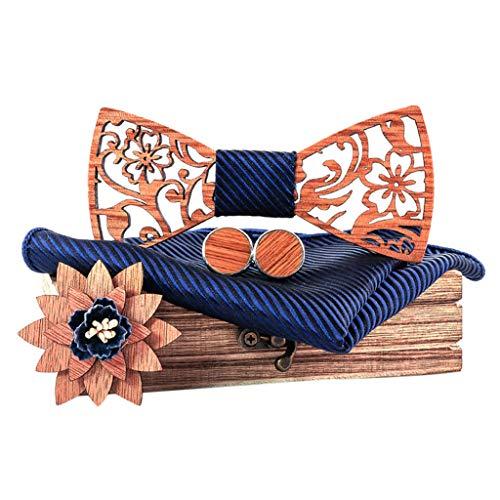 carol -1 Holz Fliege Einstellbare Mens Hochzeit Solide Krawatte Farbe Krawatte für Anzug Kleidung Zubehör,Fliege Mode Handgefertigte Holz Pre-gebundene Fliege mit Manschettenknopf Einstecktuch Brosche
