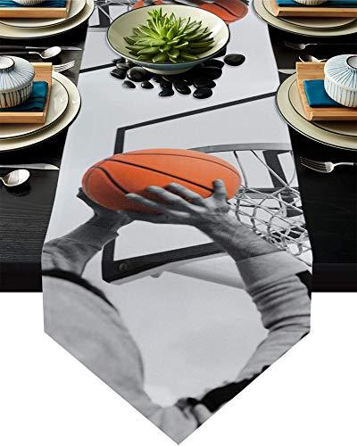 Camino de mesa de algodón y lino con diseño de triángulo, 33 x 180 cm, cesta de baloncesto naranja, bufandas de mesa para cenas, vacaciones, fiestas, banquetes de boda, fondo gris cielo