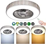 Ventilador Led Luz De Techo Ventilador De Techo Moderno Con Iluminación Montaje Semi Empotrado Luminaria Control Remoto Regulable Velocidad Del Viento Ajustable Lámpara Colgante Suspensión Moderna
