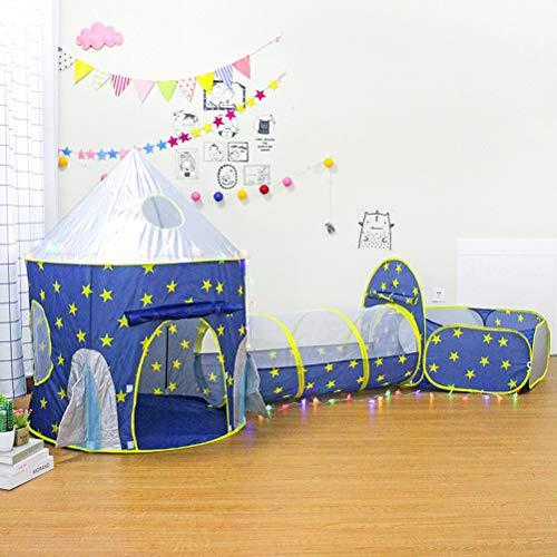 ele ELEOPTION Kinder Spielzelt Kinderzelt Babyzelt Mädchen Spielhaus Prinzessin Schloss Pop-up Zelt Jurte Spielzeug für Kleinkind Jungen und Mädchen (Zelt mit Tunnel)