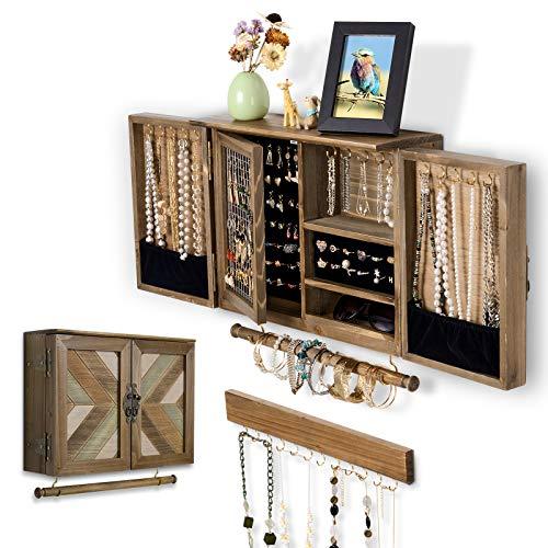 ikkle Organizador de joyas rústico, Joyero Pared Soporte de joyería de malla montado en la pared, Soporte de madera para collares, pendientes, marrón
