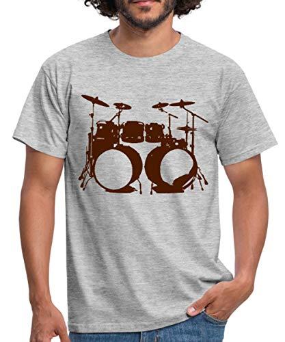 Schlagzeug, Drums, Drummer, Schlagzeuger, Musik, Instrument, Double bass Männer T-Shirt, XL, Grau meliert