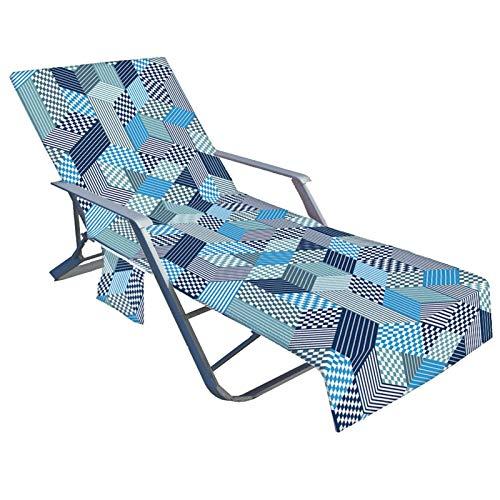 bozitian Funda para silla de playa con bolsillos laterales, no deslizante, grande, de secado rápido, para piscina, salón, cala, jardín, césped, sol, silla