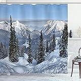 ABAKUHAUS Winter Duschvorhang, Wald Snowy Berg, mit 12 Ringe Set Wasserdicht Stielvoll Modern Farbfest & Schimmel Resistent, 175x220 cm, Weiß Grün