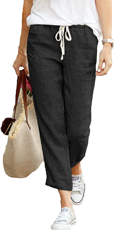 Women's Drawstring Trousers Tapered Cotton Linen Back Elastic Waist Casual Pants Jogger Bottom Lounge Sportpants (3X-Large,Black)