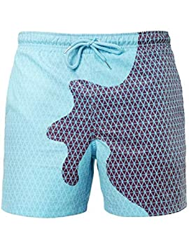 TOJONOZO Men's Color Changing Swim Trunks Summer Cool Quick Dry Board Shorts with Pockets  Blue with mesh Small