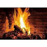CSFOTO 1,5x1m Quema de leña Fondo Fuego Fuego Hogar Fotografía Fondo por Niños Niños Familia Barbacoas de Navidad Partido Bandera Retrato Foto Puesto Accesorios