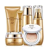 Skin Care Set,6Pcs Snail Extract Facial System Kit - Face Toner,Facial Cleanser, Eye Serum Cream,Moisturizer, Moisturizing lotion and CC Cream - Brightening White Seed Gift Set