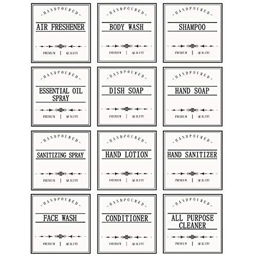 GMISUN White Waterproof Label Stickers for Bottles, Farmhouse Kitchen/Bathroom Organization Labels, Removable 16oz Bottle Labels for Soap and Lotion Dispenser,3 inch,12Pack