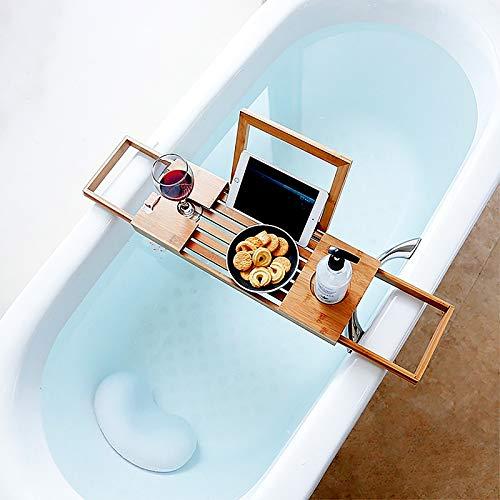 Badkuiprek Caddy Bridge Bamboo met uitschuifbare badplank, badkuiprek Handdoekopbergplank, badkamerplankervaring, voor elk formaat kuip (50-93cm)