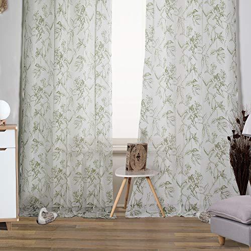 Viste tu hogar Pack 2 de Cortina Decorativa Semi Translúcida, Moderna y Elegante, para Salón o Habitación, 2 Piezas, 145 X 260 CM, Diseño Floral en Color Verde.