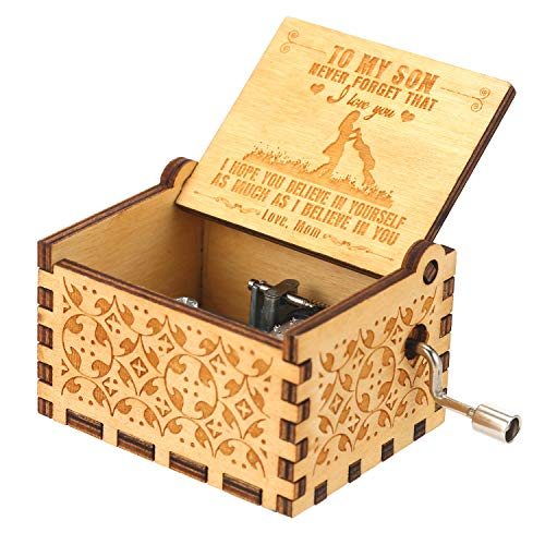 Docooler Hölzerne Spieluhr Handkurbel Spieluhren Antike Geschnitzte Musik Box Holz für Geburtstags Valentinstag Weihnachten Geschenk für Kinder