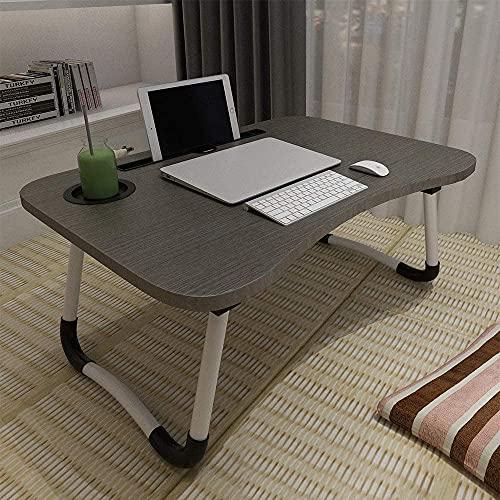 ACITMEX Laptop-Betttisch, faltbar, tragbar, mit Getränkeschlitz, Notebook-Ständer, Frühstückstablett, Buchhalter für Sofa, Bett, Terrasse, Balkon, Garten, Schwarz