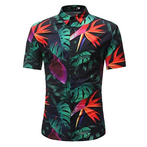 URSING Hemd Herren| Hawaiihemd | Männer | Kurzarm | Slim Fit |Front-Tasche | Hawaii-Print | Retro Vintage Blumen | Kurzarmhemd | Strandhemd | Oberhemden |Urlaub Freizeit Reise Hemden (XL, Schwarz)