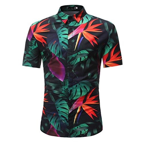 URSING Hemd Herren| Hawaiihemd | Männer | Kurzarm | Slim Fit |Front-Tasche | Hawaii-Print | Retro Vintage Blumen | Kurzarmhemd | Strandhemd | Oberhemden |Urlaub Freizeit Reise Hemden (3XL, Schwarz)