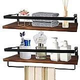 Floating Shelves for Wall Set of 2, LAERJIN Storage Shelves with Rail and Towel Bar, Decorative Storage Shelves for Kitchen, Bathroom, Living Room, Bedroom