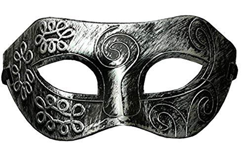Lovelegis Máscara - Color Plateado Antiguo - Carnaval - Halloween - Veneciano - Hombre - Mujer - Unisex - Efecto metálico - Flexible - esotérico - Idea de Regalo para cumpleaños