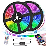 Bluetooth LED Lights Strips 32.8ft APP Control,Waterproof Flexible RGB Room Lights for Bedroom Aesthetic Decor Color Changing Rope Lights Music Sync Neon Tape Lights with Remote Gaming Mood Lighting