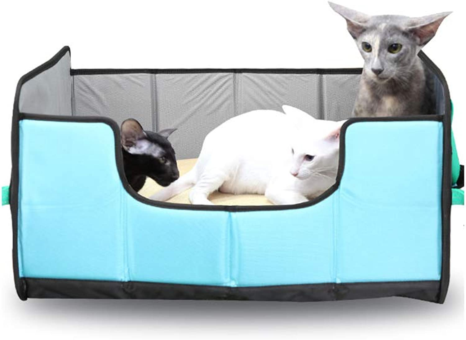 Pet Bed Environmental Predection EVA Material Big Space Folding Easy to Store Comfortable Kennel for Household and Travel Car Going Out with Pets,bluee,S